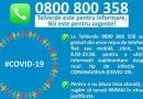 0800800358 – linia TELVERDE pentru informaţii legate de prevenirea infectării cu virusul COVID-19. Nu este număr de urgență!
